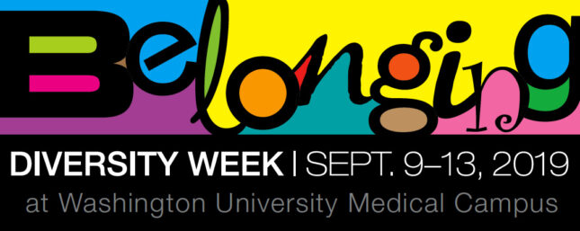 """Belonging"" - the 2019 Diversity Week theme - written in colorful and whimsical font"