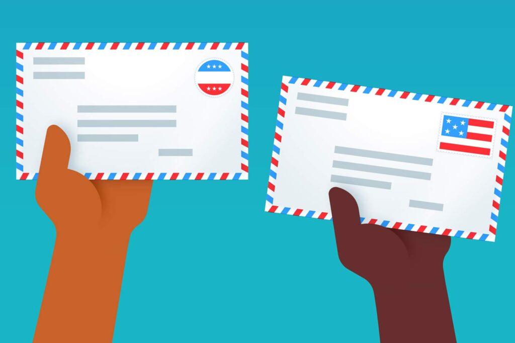 Illustration of hands holding up stamped envelopes