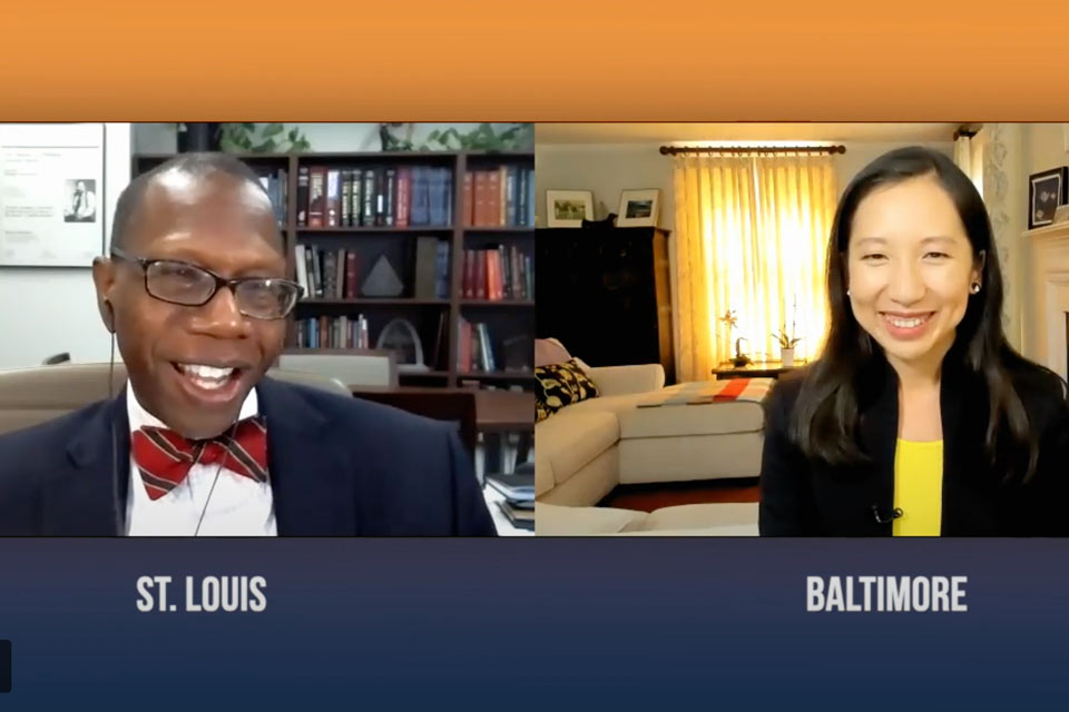 A still from the video shows the Dr. Ross and Dr. Wen greeting each other on video chat